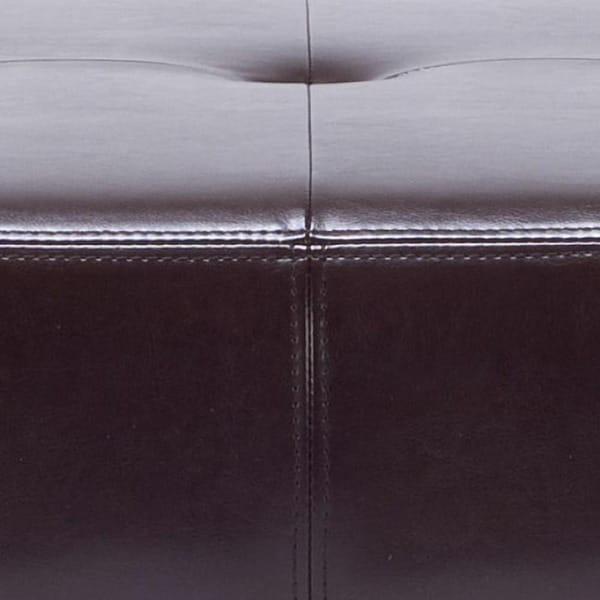 Safavieh Fulton Storage Brown Bi Cast Leather Square Ottoman   Free  Shipping Today   Overstock.com   12994635