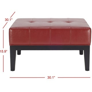 Safavieh Fulton Storage Red Bicast Leather Square Ottoman