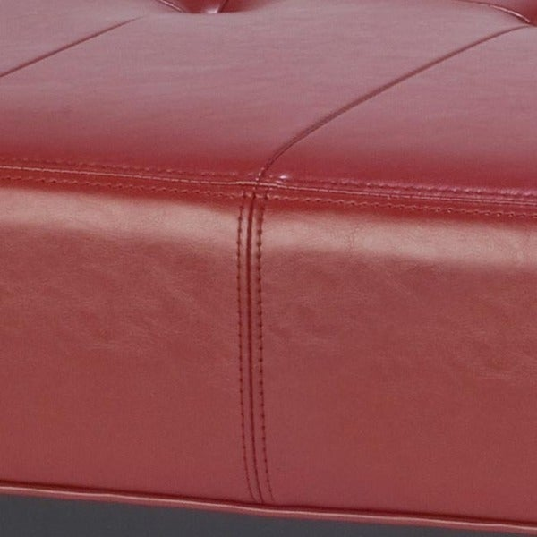 Safavieh Fulton Storage Red Bicast Leather Square Ottoman   Free Shipping  Today   Overstock.com   12994636