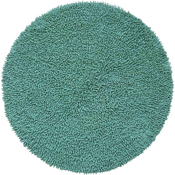 Hand woven aqua chenille shag rug 3 39 round free for Home decorators chenille rug