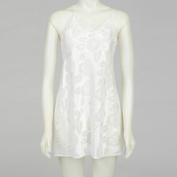 Illusion Women's White Floral Chiffon Chemise