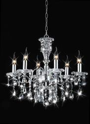 Indoor 6-light Chrome/ Crystal Candle Light Chandelier - Thumbnail 2
