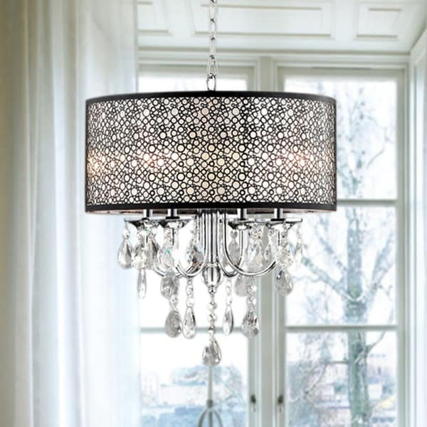 Indoor 4light Chrome Crystal Metal Bubble Shade Chandelier – Crystal Chandelier with Shade