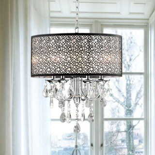 Indoor 4-light Chrome/ Crystal/ Metal Bubble Shade Chandelier