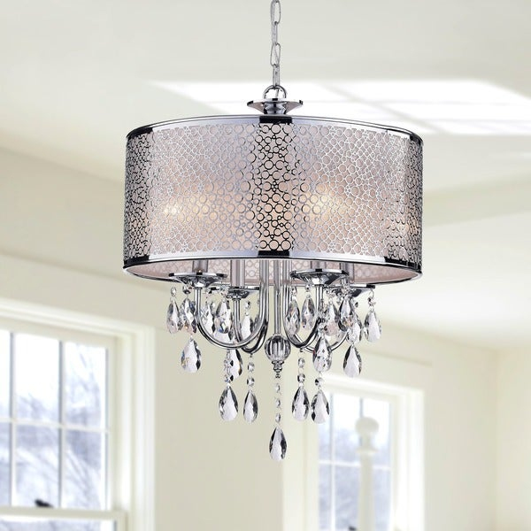 The Lighting Store Chrome Finish Iron/Crystal 4-light Chandelier with Trasnslucent White Shade