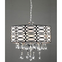 Chrome Chandeliers: Indoor 4 Light Chrome Crystal Antique Bronze Shade Chandelier,Lighting
