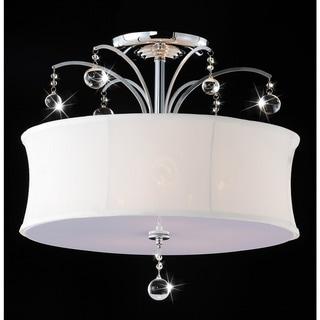 Indoor 5-light Chrome/ Crystal Flush Mount Chandelier