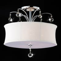 Indoor 5-light Chrome/ Crystal Flush Mount Chandelier