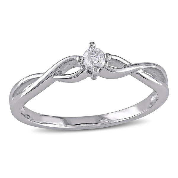 Miadora 10k Gold 1/10ct TDW Diamond Promise Ring
