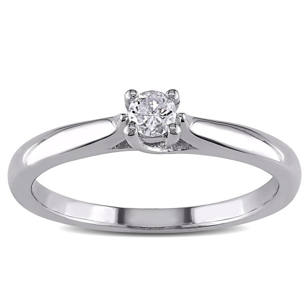 Miadora Sterling Silver 1/6ct TDW Diamond Solitaire Ring (H-I, I2-I3)