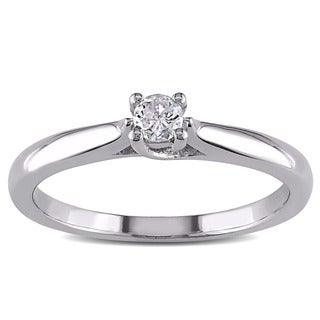 Miadora Sterling Silver 1/6ct TDW Diamond Solitaire Ring