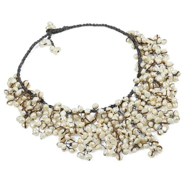 Handmade Natural Freshwater Pearls V-shape Waterfall Bib Necklace (Thailand)