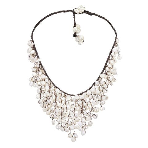 Handmade Trendy White Pearl V-Shape Chandelier Necklace (Thailand)