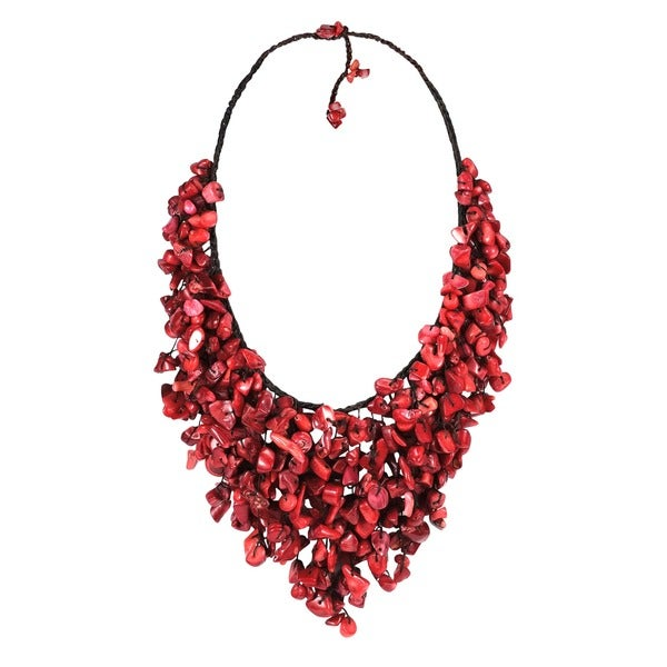 Handmade Red Coral V-Shape Waterfall Necklace (Thailand)