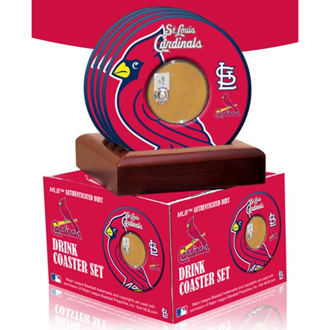 Steiner Sports St. Louis Cardinals Coasters w/ Game Used Dirt (Set of 4) - Thumbnail 0