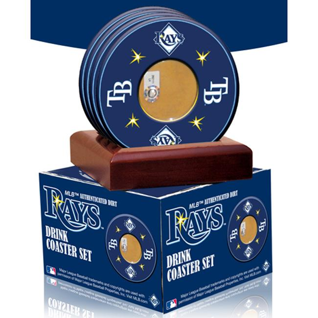 Steiner Sports Tampa Bay Rays Coasters w/ Game Field Dirt (Set of 4)