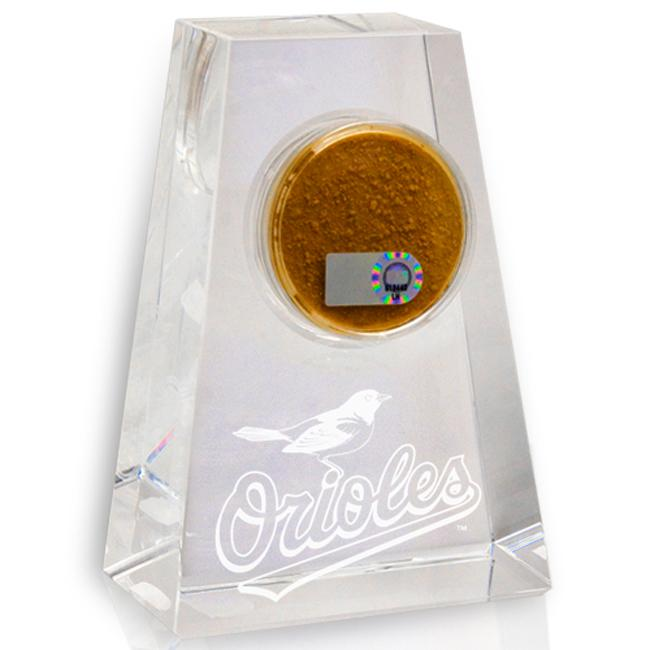 Baltimore Orioles Tapered Crystal Paperweight w/ Game Field Dirt