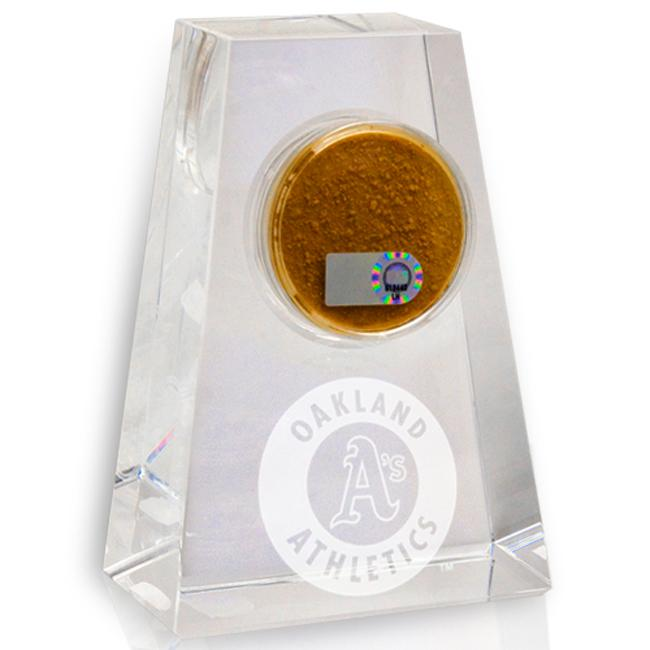 Oakland Athletics Tapered Crystal Paperweight w/ Game Field Dirt