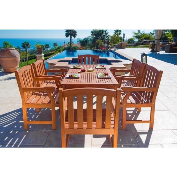 Havenside Home Surfside Outdoor Wood English Garden Natural Dining Set