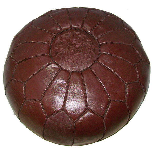 Handmade Leather Contemporary II Ottoman Pouf (Morocco). Opens flyout.