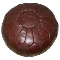Handmade Leather Contemporary II Ottoman Pouf (Morocco)