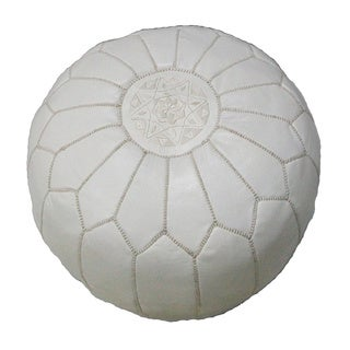 Handmade Contemporary Handmade Imported Genuine-leather Ottoman Pouf (Morocco)