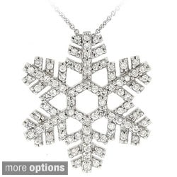 Icz Stonez Sterling Silver Cubic Zicornia Snowflake Necklace