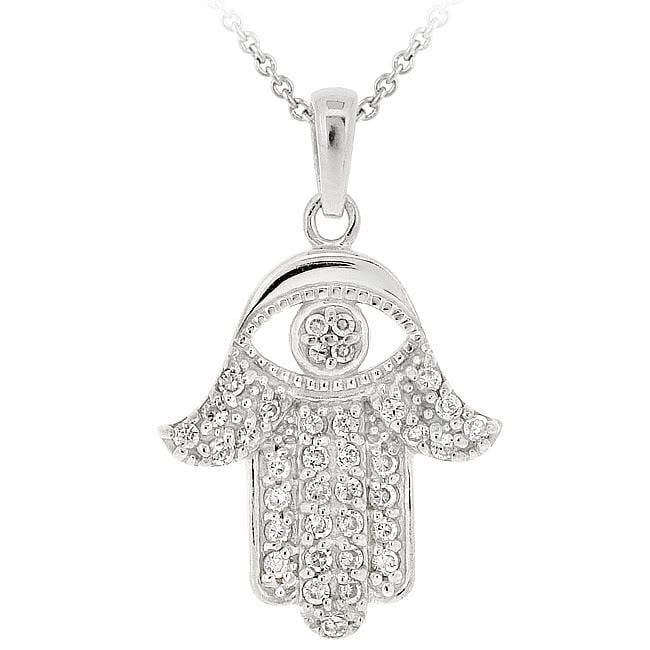 Icz Stonez Sterling Silver Cubic Zirconia Hamsa Necklace