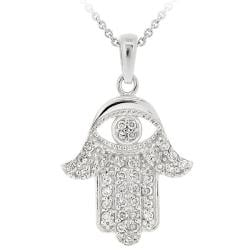 Icz Stonez Sterling Silver Cubic Zirconia Hamsa Necklace