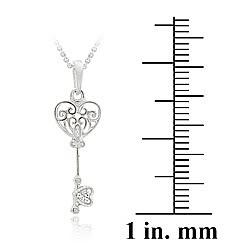 Icz Stonez Sterling Silver Cubic Zirconia Mini Key Necklace