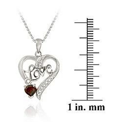 Glitzy Rocks Sterling Silver Garnet and Diamond Accent Love Heart Necklace - Thumbnail 2