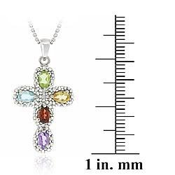 Glitzy Rocks Sterling Silver Multi-gemstone and Diamond Accent Cross Necklace