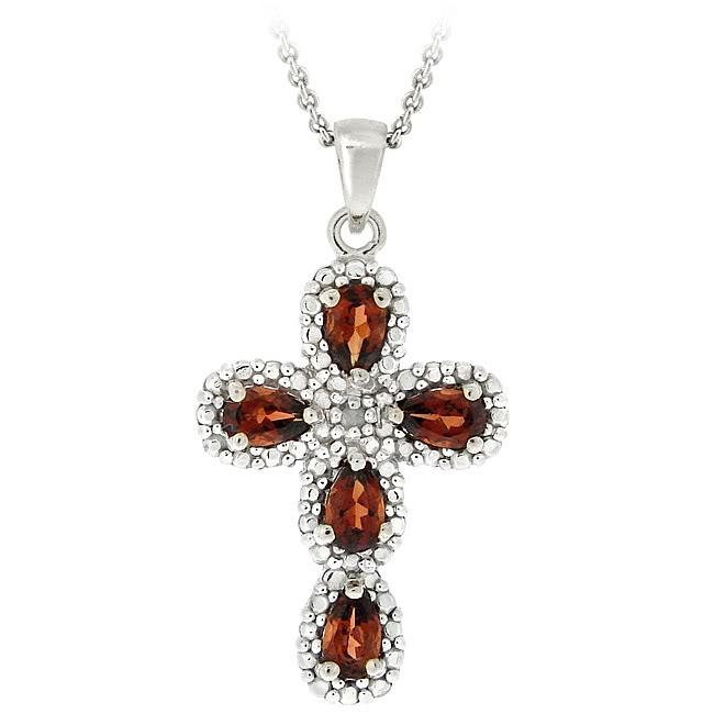 Glitzy Rocks Sterling Silver Garnet and Diamond Accent Cross Necklace