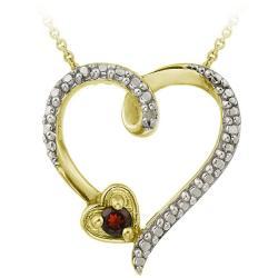 Glitzy Rocks 18k over Silver Garnet Diamond Accent Heart Necklace