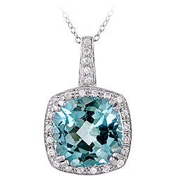 Glitzy Rocks Sterling Silver 10.35 CTW Blue Topaz and Cubic Zirconia Necklace