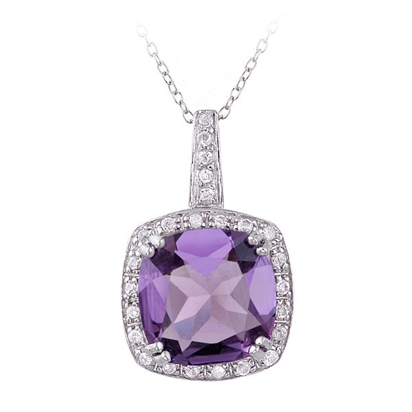 Glitzy Rocks Sterling Silver 10.35 CTW Amethyst and Cubic Zirconia Necklace