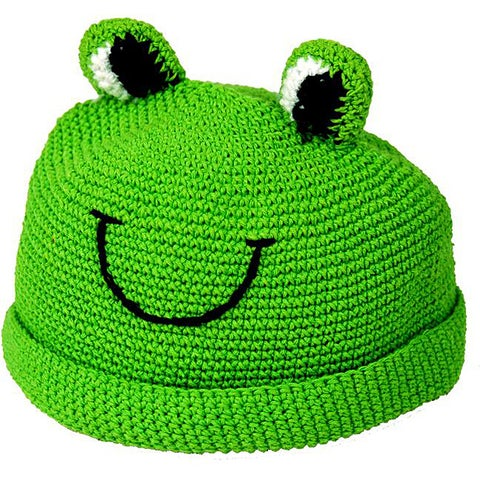 Handmade Cotton Hand-Crocheted Summer Kid Frog Hat (Indonesia)
