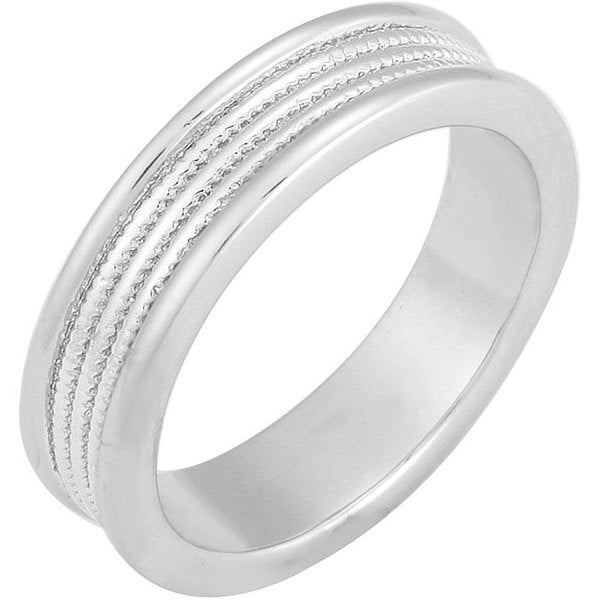 NEXTE Jewelry White Rhodium Overlay Triple Row Serrated Center Band (5 mm)
