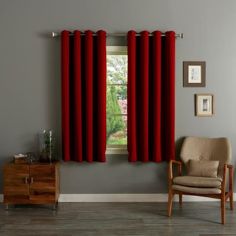Aurora Home Grommet Top Thermal Insulated Blackout 64-inch Curtain Panel Pair - 52 x 64 - 52 x 64
