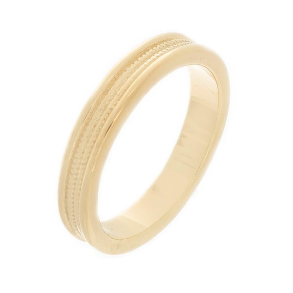 NEXTE Jewelry 14k Gold Overlay Women's Double Row Serrated Center Wedding Band (4 mm)