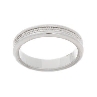 NEXTE Jewelry White Rhodium Overlay Double Row Serrated Center Band 4 Mm