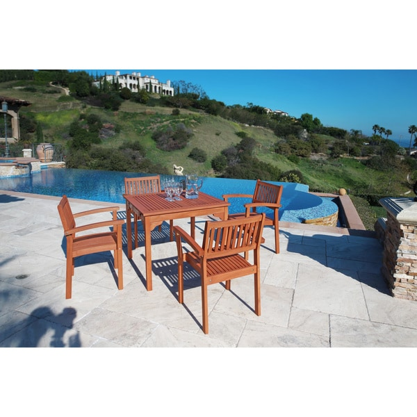 Ibiza Outdoor Eucalyptus Wood Stacking Dining Table   Free Shipping Today    Overstock.com   12998748