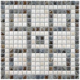 SomerTile 12x12-in Samoan Greek Key Perla 9/16-in Mural Porcelain Mosaic Sheet