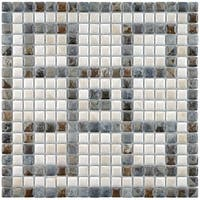SomerTile 12.125x12.125-inch Samoan Greek Key Perla Porcelain Mosaic Floor and Wall Tile