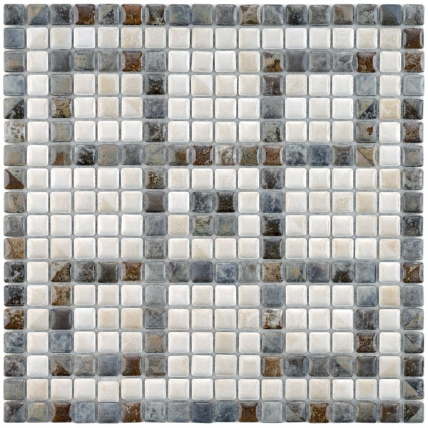 SomerTile 12.125x12.125-inch Samoan Greek Key Perla Porcelain Mosaic Floor and Wall Tile 7054105