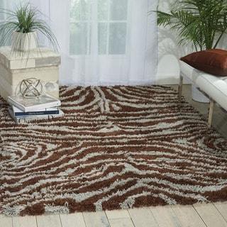 Nourison Splendor Aqua/Brown Shag Area Rug (7'6 x 9'6)