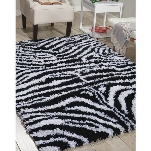Nourison Splendor Black/White Shag Area Rug (5' x 7')
