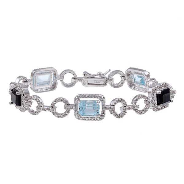 Dolce Giavonna Sterling Silver Blue Topaz and Diamond Accent Link Bracelet