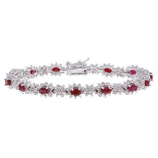 Dolce Giavonna Sterling Silver Ruby and Diamond Accent Bracelet