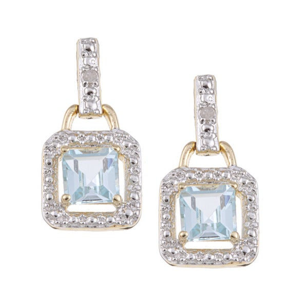 Dolce Giavonna Gold over Silver Blue Topaz and Diamond Accent Dangle Earrings